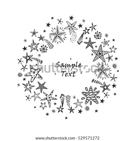 christmas new year or birthday card template hand drawn doodle fireworks and stars round