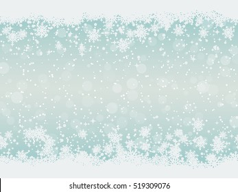 Christmas and New Year blue vector background with white stars and snowflakes
