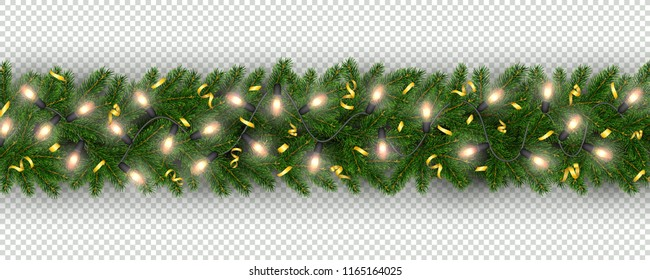 Christmas and New Year border of realistic branches of Christmas tree, garland light bulbs, serpentine Element for festive design isolated on transparent background Vector