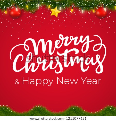 christmas and new year border with red background xmas card design with decorative elements and