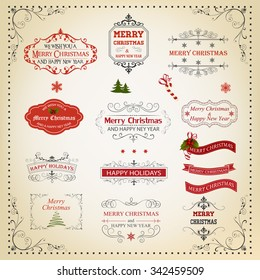 Christmas And New Year Calligraphic And Typographic Design Elements, Page Decoration, Labels, Symbols And Icons Elements