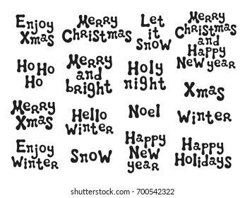 Christmas new year calligraphy phrases set stock vector royalty christmas and new year calligraphy phrases set handwritten brush seasons lettering collection xmas phrases m4hsunfo