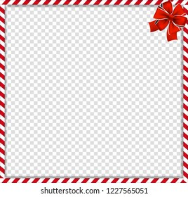 Christmas, new year cane photo frame with red and white striped lollipop pattern and festive bow in the corner isolated on transparent background. Holiday xmas border. Vector illustration, template.