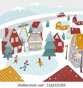 christmas, new year card for congratulations happy new year, vector flat illustration of winter street with houses, skating rink, lanterns, herringbone and people