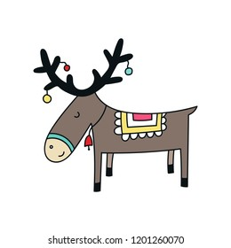 Christmas and New Year card with cute deer animal. Kids vector illustration.