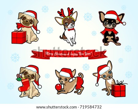 Christmas New Year Card Cute Dogs Stock Vector (Royalty Free ...