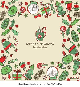 Christmas and New Year card with Christmas decorations and present. Vector hand drawn illustration