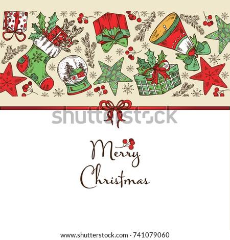 Christmas New Year Card Christmas Decorations Stock Vector (Royalty ...