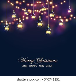 Christmas  and New Year card with festive garland lights and light bulbs. Vector illustration