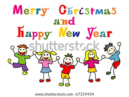 christmas and new year card with happy kids
