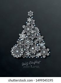 Christmas and New Year card with silhouette of Christmas tree made of 3d silver openwork snowflakes on black background. Holiday Vector Design