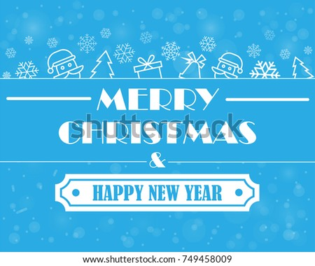 christmas and new year card with symbols on a blue background vector