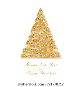 Christmas and New year card template. Golden fir. Wavy sparkling abstract christmas tree with shining snowflakes or stars. Isolated on white