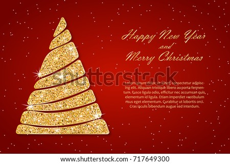 christmas and new year card template golden wavy fir sparkling abstract christmas tree with shining