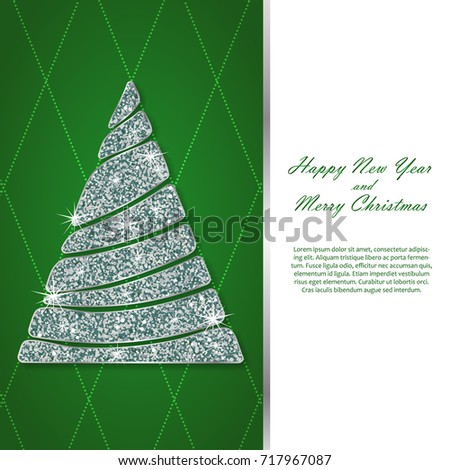 christmas and new year card template silver fir wavy sparkling abstract christmas tree with