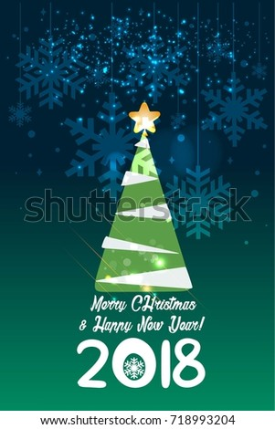 christmas and new year card template in green background xmas tree 2018 happy new