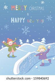 Christmas and New year card with two playing children. EPS 10. No transparency. Gradients.