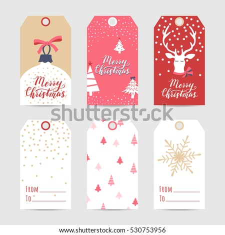 christmas and new year cute ready to use gift tags set of 6