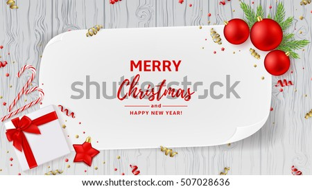 christmas or new year decoration banner top view on xmas composition with gift box