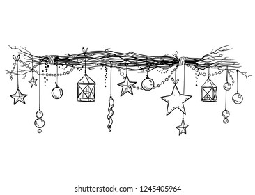 Christmas and New Year decoration. Festive garland vector sketch