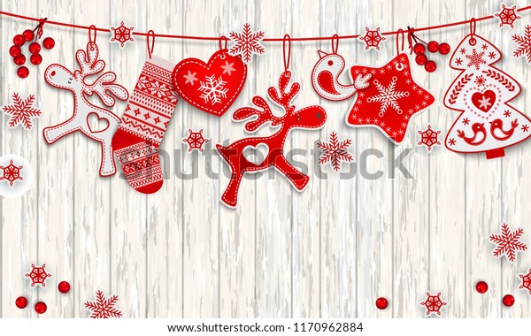 Christmas and New Year decorations hanging on a white wooden boards background, Scandinavian style Festive vector background with place for text
