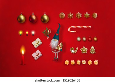 Christmas and New Year decorations set on a red background. Christmas elf, gift boxes, 3D realistic Christmas balls, burning candle, luminous bulbs, decorative golden snowflakes, lollipop,
