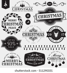 Christmas and New Year decorative elements isolated on white background. Set of typography badges for greeting card, sale label, page and web decoration or other holiday design. Vector illustration.