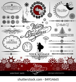 Christmas and New Year decorative vector set, silhouettes of Santa Claus and fairy, calligraphic elements, vintage and retro ornaments, banners, text, dividers with snowflakes and stars for design