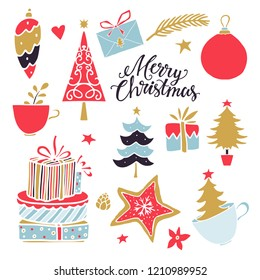 Christmas, New Year design elements. Hand drawn isolated on white background set. Handwritten font