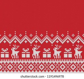 Christmas and New Year Design. Fair Isle Seamless Knitting Pattern