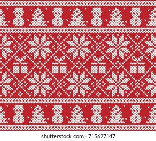Christmas and New Year Design. Fair Isle Seamless Knitting Pattern