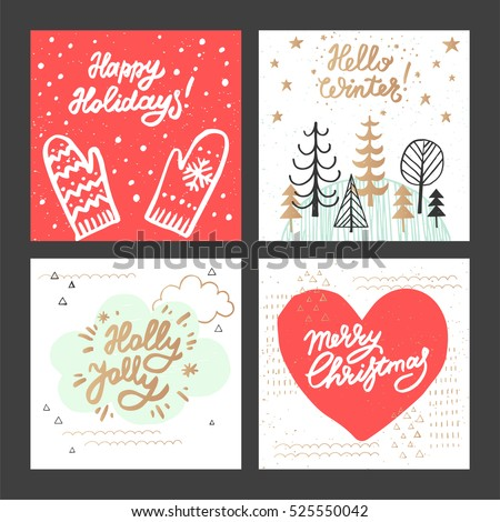 Christmas new year design greeting cards stock vector royalty free christmas and new year design greeting cards set hand drawn vector illustrations for greeting cards m4hsunfo