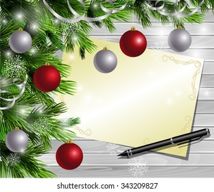 Christmas  New Year design light wooden background with christmas tree and silver and red balls and wish list and pen
