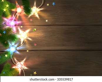 Christmas and New Year design template with wooden background, colorful star-shaped lights, fir branches and confetti. Vector illustration, eps10.