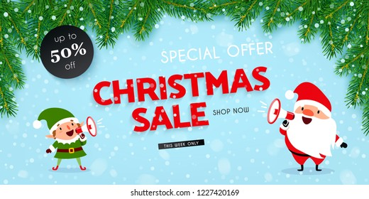 Christmas and New Year discounts and sales, a festive advertising banner with Santa Claus, Christmas elf, megaphone, decorated with Christmas tree branches and falling snow, vector illustration
