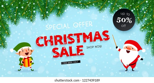 Christmas and New Year discounts and sales, a festive advertising banner with Santa Claus, Christmas elf, gift, decorated with Christmas tree branches and falling snow, vector illustration