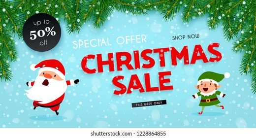 Christmas and New Year discounts and sales, a festive advertising banner with Santa Claus, Christmas elf, decorated with Christmas tree branches and falling snow, vector illustration