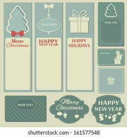 Christmas and New Year elements. (Banner, card, icon, label. Vector set, EPS 8)