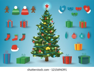 Christmas and New Year elements. Christmas collection with pine tree, gift boxes, candies and other elements. Vector illustration