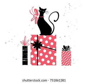 Christmas and New year fashion illustration of cat with gift boxes, vector. Hand drawn design concept for invitation, greeting card, poster, flyer for Winter Holiday season. Trendy modern style.