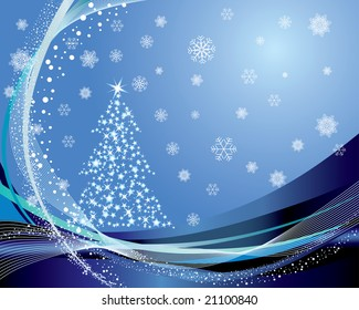 Christmas (New Year) fir-tree with stars. Vector background.