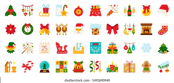 Christmas and New year flat icons set. Winter symbol in cartoon style. Holiday simple sign. Xmas pictogram collection. Color vector illustration isolated on white. Design icon for card, print, logo