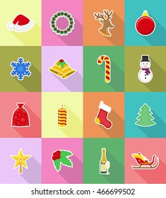 christmas and new year flat icons vector illustration isolated on background