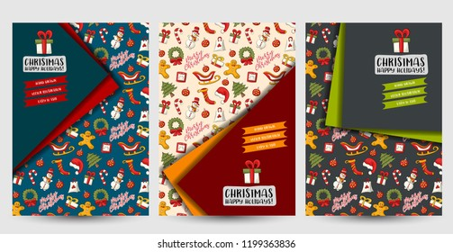 Christmas and New Year flyer or posters set. Background for advertisement, menu, brochure template. Hand drawn doodle cartoon style modern winter holidays decoration concept. Vector illustration.