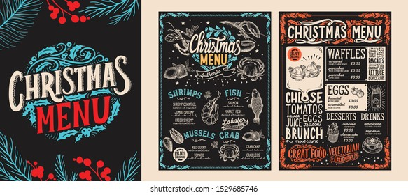 Christmas and New Year food menu template for restaurant on chalkboard background. Vector illustration for holiday celebration. Design background with hand-drawn lettering and festive vintage graphic.