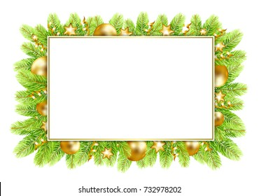 christmas and new year frame with fir tree border and christmas balls vector illustration