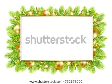 christmas and new year frame with fir tree border and christmas balls vector illustration