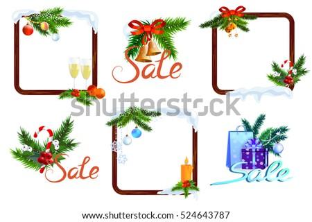 Christmas New Year Frames Set Christmas Stock Vector (Royalty Free ...