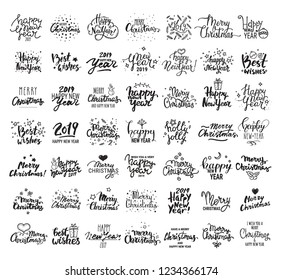 Christmas & New Year giant vector collection. Handwritten lettering, label, emblem, text design templates with winter holiday symbols. Festive quotes Merry Christmas, Happy New Year 2019, Best wishes.