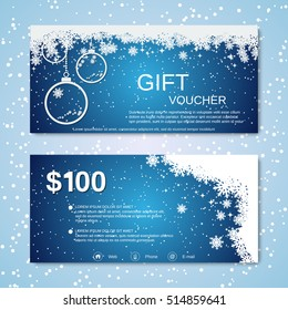 Christmas and New Year gift voucher vector template